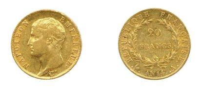 Lot de quatre pièces de 20 Francs à l'effigie...