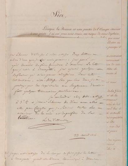 FOUCHÉ et TALLEYRAND Ensemble de 4 pièces, 1814-1815 et s.d., soit: 2 lettres de...