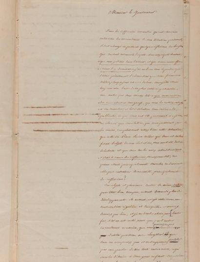 SAINTE-HÉLÈNE. - LAS CASES (Emmanuel Auguste Dieudonné de). Lettre signée «Le Cte...