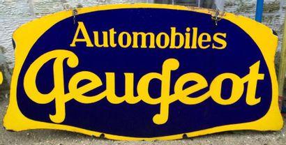 Plaque émaillée «Automobiles Peugeot», double...