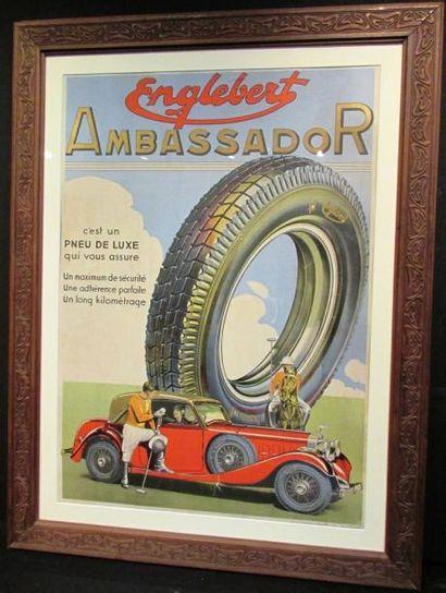 Affiche Englebert Ambassador, 1935, avec...