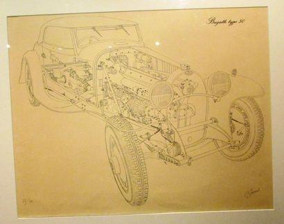 Eclaté de la Bugatti type 50 par Jarraud