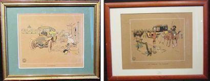 Lot de 2 illustrations de René Vincent pour...