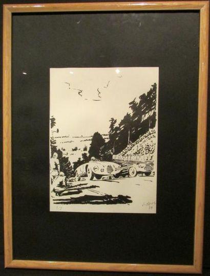 Encre de Jean Reus représentant une Gordini...