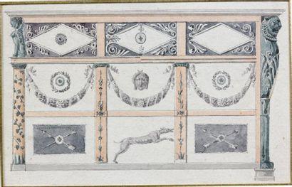 Commode de forme rectangulaire, en placage d'acajou, citronnier amarante et ébène;...