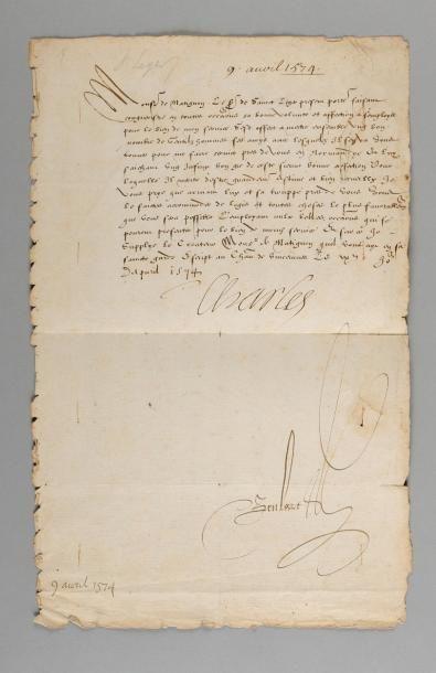 CHARLES IX. Lettre signée «Charles» au comte...