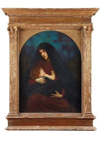"""""""Jean BÉRAUD (1849-1935) La Vierge Sur sa toile d'origine (F. Dupré) Signé et daté..."""
