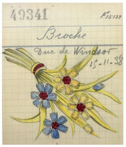 VAN CLEEF and ARPELS Cette broche en or jaune poli stylise un bouquet de trois fleurs....