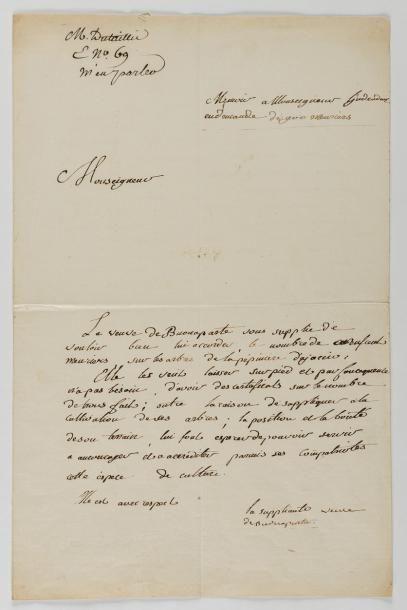 BONAPARTE (Napoléon)- BONAPARTE (Letizia) Lettre entièrement autographe de Napoléon...