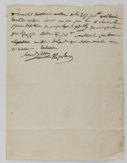 NAPOLEON Ier Lettre autographe signée «Napoleon» au maréchal BESSIÈRES. [Château...