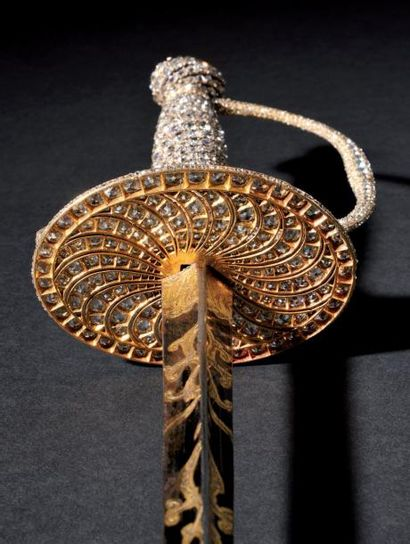 Exceptionnelle, unique et précieuse épée, véritable pièce de joaillerie, du type...