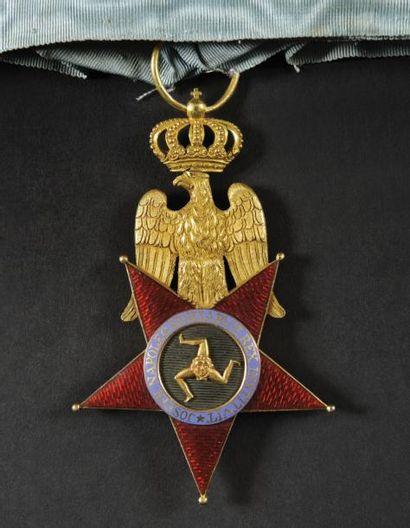 Ordre royal des Deux-Siciles, institué en 1808. Grand insigne de commandeur, second...
