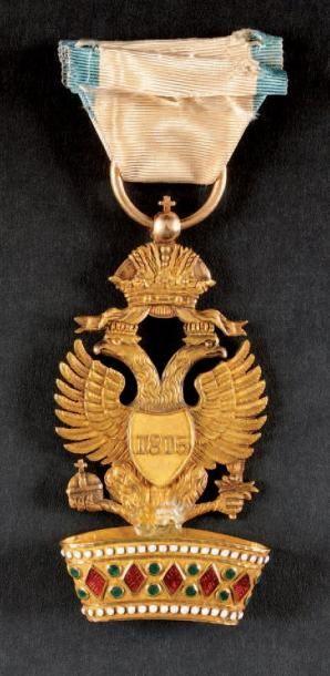 Ordre de la Couronne de Fer, institué en 1805, modifié en 1815. Insigne de chevalier...