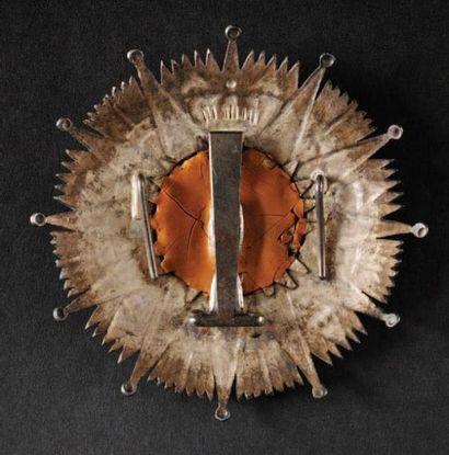 Ordre de la Réunion, institué en 1811. Plaque de Grand Croix du 2ème type. En argent....