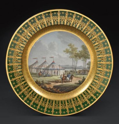 Rare assiette du service dit «des quartiers généraux» «Tente de l'empereur dans...