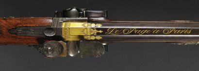 Superbe fusil de chasse double à silex, à deux canons superposés tournants, deux...