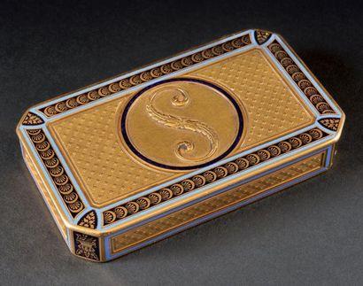 Le maréchal Soult, duc de Dalmatie (1769-1851) Tabatière en or rectangulaire à angles...
