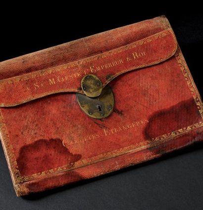 Rare portefeuille à soufflets du Cabinet noir de l'empereur Napoléon Ier. En maroquin...