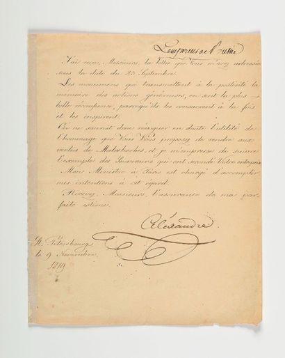 ALEXANDRE Ier. Lettre signée à des «Messieurs»....