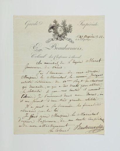 EUGÈNE DE BEAUHARNAIS. Lettre autographe...