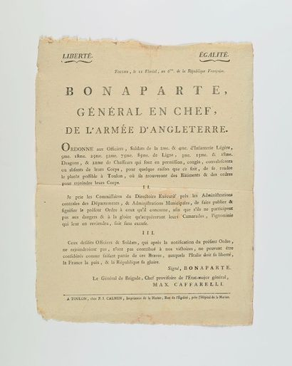 EXPÉDITION D'ÉGYPTE. - BONAPARTE (Napoléon)...