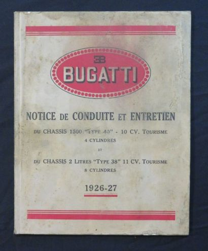 «BUGATTI», notice de conduite et entretien...