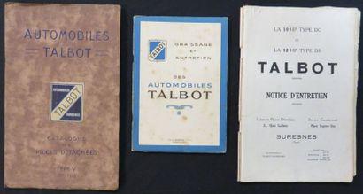 Catalogues «TALBOT», catalogue des pièces...