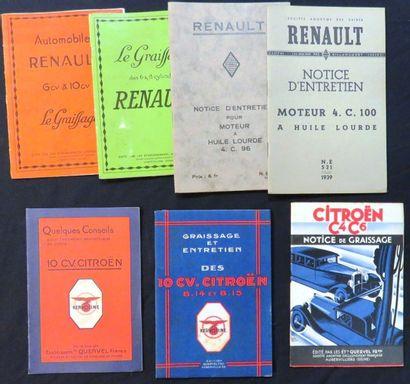 Catalogues «RENAULT» Graissage 6 CV et 10...