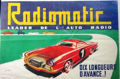 Affiche Radiomatic signée P Dumont, dim 80...