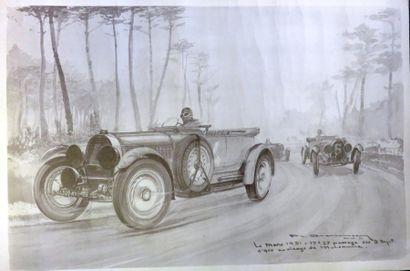 «Trois Bugatti aux Mans 1931 au virage de...