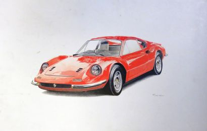 Dessin représentant une Ferrari 246 GT