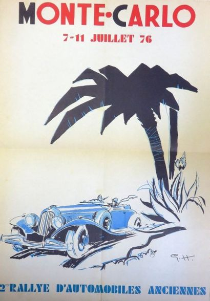 Affiche Monte Carlo 7-11 juillet 76, dessin...
