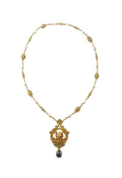 WIESE SAUTOIR en or jaune, la maille fi nement travaillée ponctuée de quatorze perles...