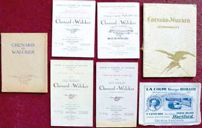 Chenard & Walcker 1925/26 4 tarifs: 2 depliants...