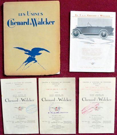 Chenard & Walcker 1927 3 tarifs, 2 de 8 pages...