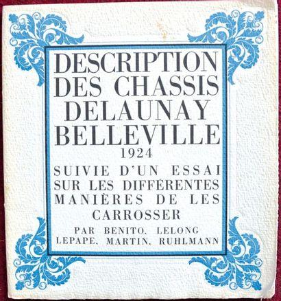 Delaunay Belleville 1924 Catalogue 14 pages...