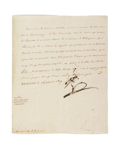 NAPOLÉON IER. Lettre signée «Np» au ministre...