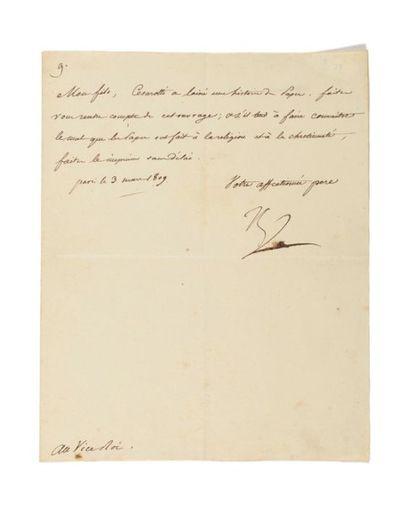 NAPOLÉON IER. Lettre signée «Np» au vice-roi...