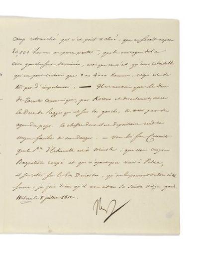 NAPOLÉON IER. Lettre signée «Nap» avec UN...