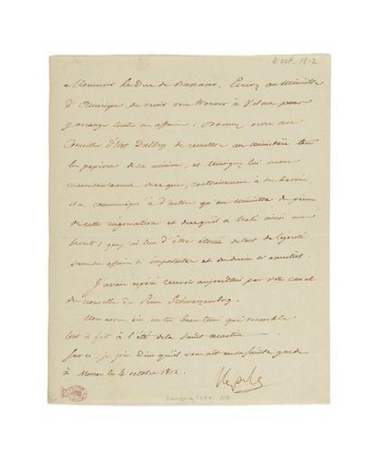 NAPOLÉON IER. Lettre signée «Napole» adressée au ministre des Relations extérieures...