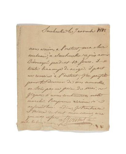 LETTRE DE SOLDAT. ? TROUSSET (Laurent- François). Lettre autographe signée à son...