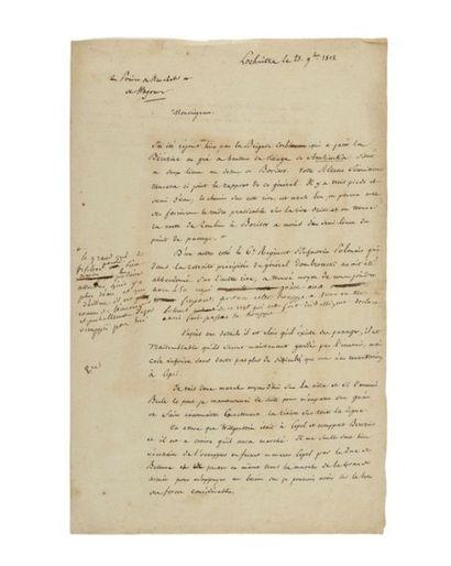 OUDINOT (Nicolas Charles) Minute manuscrite avec une quinzaine de lignes autographes,...