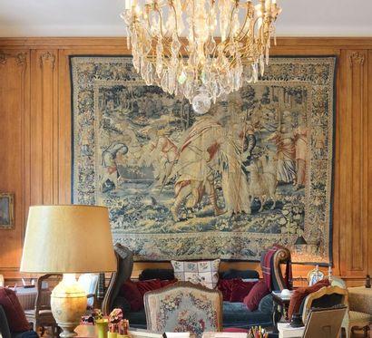 FLANDRES XVIIème siècle Tapisserie en laine polychrome représentant un épisode de...