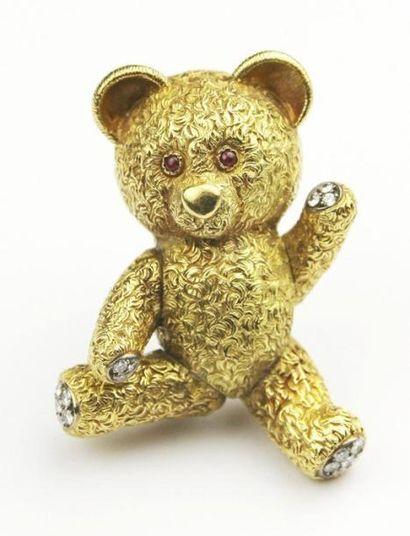 CLIP en or jaune stylisant un ourson, la...