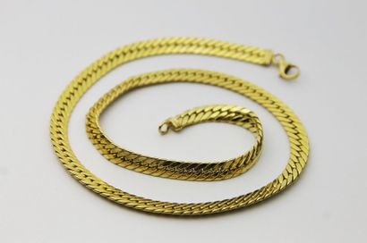 COLLIER en or jaune maille gourmette plate....