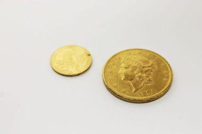 LOT DE DEUX PIECES en or jaune, 1 dollars...