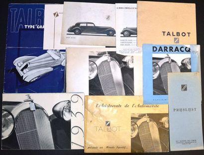 Talbot 1937/39 Dépliant 3 volets, Les 4 litres,...