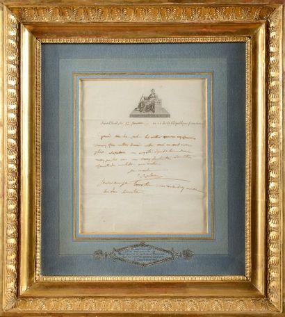 BONAPARTE (Napoléon) Lettre autographe signée «Napoléon» à sa soeur PAULINE. Palais...