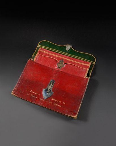 Grand et rare portefeuille à soufflets de Joseph Fouche, Duc d'Otrante, Sénateur,...