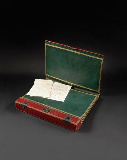 Portefeuille écritoire de voyage à soufflets de Joseph Fouché, Duc d'Otrante, Sénateur,...